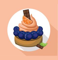 Orange mousse delicious cake sweet dessert cherry vector