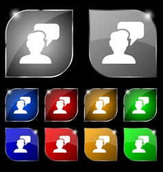 People talking icon sign Set of ten colorful vector