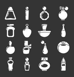 perfume bottle icons set grey vector image