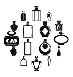 perfume bottles icons set simple style vector image