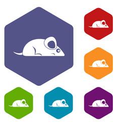 Pet mouse icons set hexagon vector