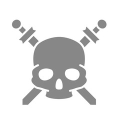 pirate skull with crossed swords grey icon vector image