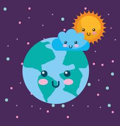 planet earth sun and cloud kawaii weather vector image