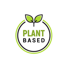 Plant based vegan badge eco icon suitable vector