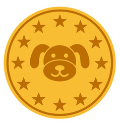 Puppy coin flat icon vector