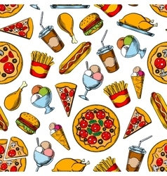 retro seamless pattern fast food dishes vector image