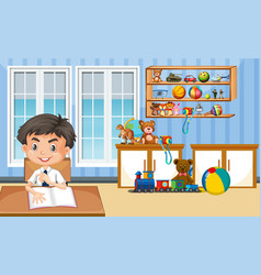 Scene with boy doing homework at home vector