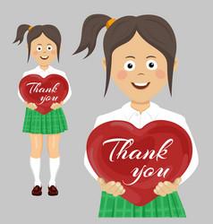 school teenager girl holding red heart vector image