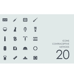 Set of contraceptive methods icons vector