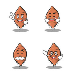 Set of yam character cartoon vector