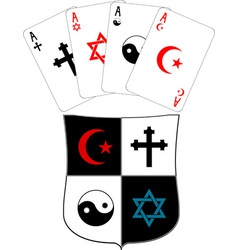 shield and religious aces vector image