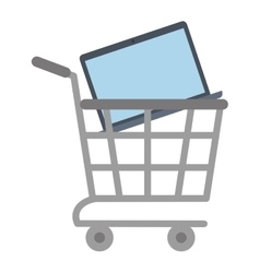 shopping cart online laptop technology vector image