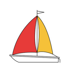 Silhouette color section of sailboat icon vector