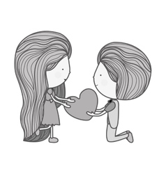 silhouette couple with heart in her hands vector image
