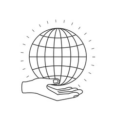 Silhouette hand palm giving a globe chart charity vector