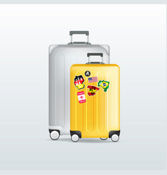 silver and yellow travel luggage vector image