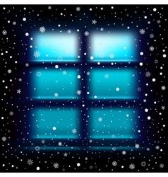 snow night large window vector image