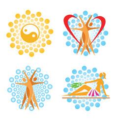 spa sauna icons vector image