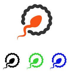 Sperm penetration flat icon vector