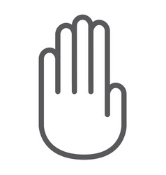 stop hand line icon warning and palm stop sign vector image