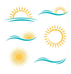 Sun and Sea Simple Logo vector