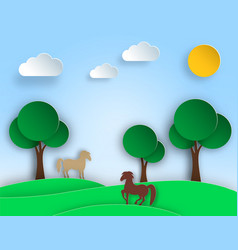 Sunny nature landscape with trees meadow horse vector