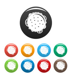 top view cheeseburger icons set color vector image