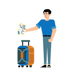 Traveler male character with suitcase stands and vector