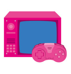 Tv nineties with control game isolated icon vector
