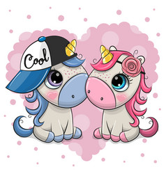 Two cute cartoon unicorns on a heart background vector