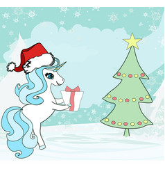 Unicorn with christmas tree and a surprise vector