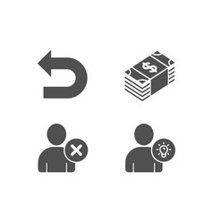 Usd currency delete user and undo icons user vector