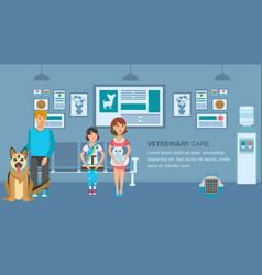Vet clinic queue banner color template vector