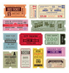 vintage tickets hand ticket circus cinema and vector image