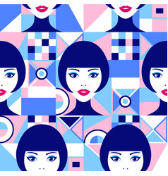 woman faces and geometric figures vector image