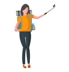 woman with backpack taking selfie stick picture vector image