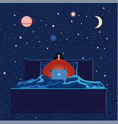 woman with laptop working in bed into night vector image