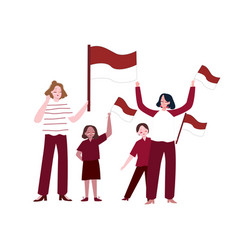 Women and children holding indonesian flag show vector