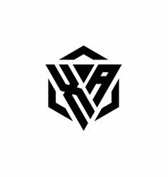 Xa logo monogram with triangle and hexagon modern vector
