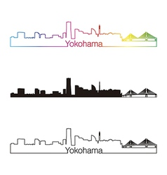 Yokohama skyline linear style with rainbow vector