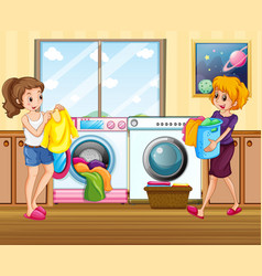 young lady washing clothes vector image