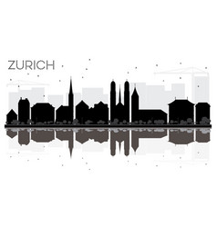 Zurich city skyline black and white silhouette vector