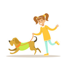 cute smiling girl walking with her dog colorful vector image vector image