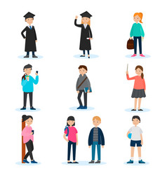 people in university set vector image