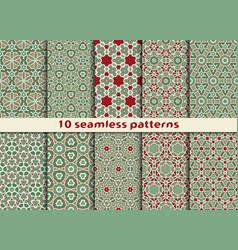 set of ten geometric seamless patterns vector image vector image