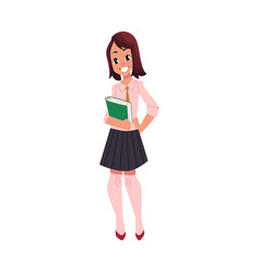 student pupil girl in school uniform with a book vector image vector image
