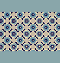 blue and beige seamless abstract floral vintage vector image