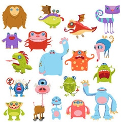 Cartoon cute monsters set vector image vector image