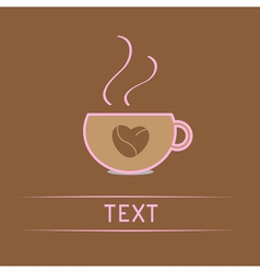 Cup with coffee seeds heart Love card vector image