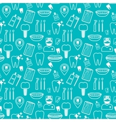 Dental seamless pattern white linear icons blue vector
